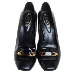 Tod's Black Leather Block Heel Square Toe Pumps Size 38