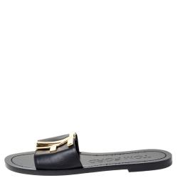 Tom Ford Black Leather TF Flat Slides Size 38