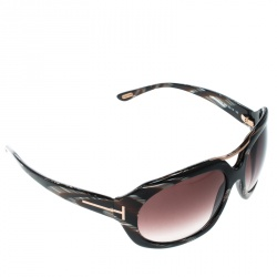ff198d3052479 Tom Ford Brown Horn Brown Gradient TF24 Camilla Round Sunglasses