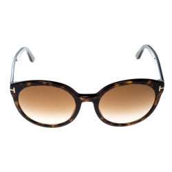 19cfa327f0646 Tom Ford Dark Havana Brown Gradient Philippa TF503 Round Sunglasses