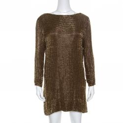 d9fc33e7 Tom Ford Brown Embellished Silk Draped Open Back Long Sleeve Dress S