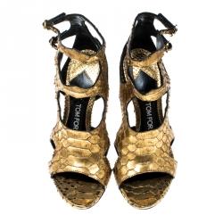 Tom Ford Metallic Gold Python Leather Peep Toe Cutout Sandals Size 36.5