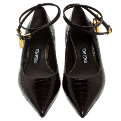 Tom Ford Brown Python Embossed Leather Padlock Ankle Wrap Pointed Toe Flats Size 37