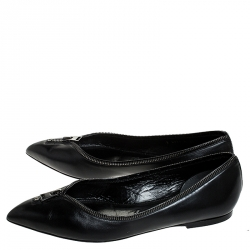 Tom Ford Black Leather Zipper Trim And Zip Detail Pointed Toe Ballet Flats Size 39