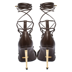 Tom Ford Brown Leather Lace Up Sandals Size 38
