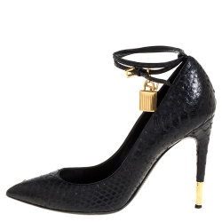 Tom Ford Black Python Padlock Ankle Wrap Pointed Toe Pumps Size 41