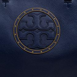 Tory Burch Navy Blue Leather Tote