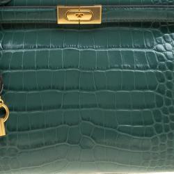 Tory Burch Green Croc Embossed Leather Lee Radziwill Satchel
