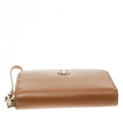 Tory Burch Brown Leather Robinson Zip Around Wallet