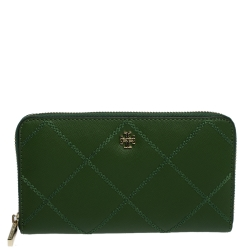 Tory Burch Green Leather Ultra Stitched Robinson Zip Around Wallet