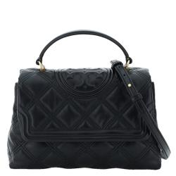 Tory Burch Black Fleming Leather Soft Quilted Top Handle Bag