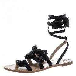 46bd1ff48 Tory Burch Black Leather Blossom Floral Embellished Gladiator Sandals Size  40.5