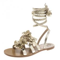 78333b008 Tory Burch Light Gold Leather Blossom Floral Embellished Gladiator Sandals  Size 39