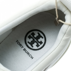 Tory Burch White Leather Laney Crystal Embellished Slip On Sneakers Size 38