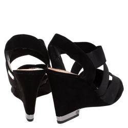 Tory Burch Black Suede Debbie Wedge Sandals Size 38.5