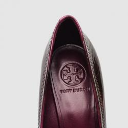 Tory Burch Plum Patent Leather Sally Wedges Size 39