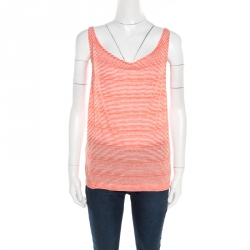 afd38ff8610 Tory Burch Orange and White Striped Jersey Oversized Odila Tank Top XS