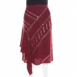 132e31dd3c6 Tory Burch Red Agate Embellished Silk Draped Skirt M