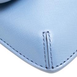 Tory Burch Light Blue Leather Slim Diana Flap Clutch