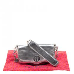Tory Burch Metallic Silver Leather Crossbody Bag