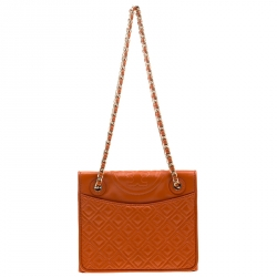 b3c4354a4 Tory Burch Orange Saffiano Patent Leather Fleming Convertible Shoulder Bag