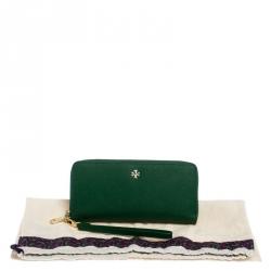 Tory Burch Green Leather Zip Around Wallet