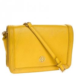 Tory Burch Yellow Leather Robinson Chain Crossbody Bag