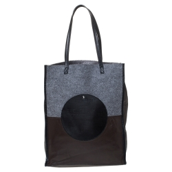 Tory Burch Tri Color Leather Leather and Wool Tote