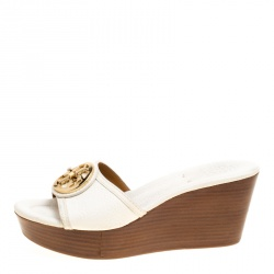Tory Burch White Leather Selma Wedge Slides Size 36.5