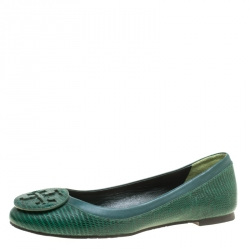 a1c0d55e9 Buy Tory Burch Blue Patent Croc Embossed Leather Reva Scrunch Ballet ...