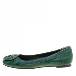 47828ef11ccf Buy Tory Burch Blue Patent Croc Embossed Leather Reva Scrunch Ballet ...