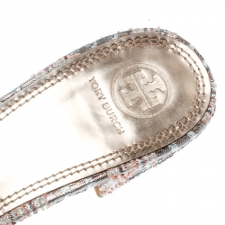 Tory Burch Pink/Silver Embroidered Fabric Tatiana Pearl Sandals Size 40.5