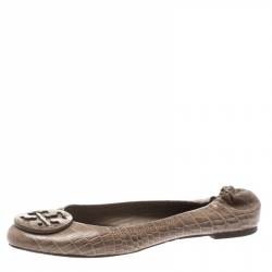 646b65296 Tory Burch Beige Croc Embossed Leather Reva Scrunch Ballet Flats Size 39.5
