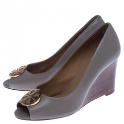 Tory Burch Grey Leather Julianne Peep Toe Wedge Pumps Size 37