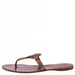 Tory Burch Brown Leather Miller Flat Thong Sandals Size 38