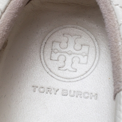 Tory Burch White Marion Quilted Leather Lace Up Sneakers Size 40