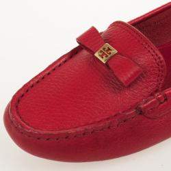 Tory Burch Red Leather 'Ludlow' Drivers Size 38