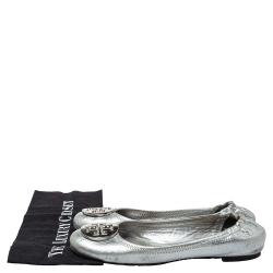 Tory Burch Silver Leather Scrunch Ballet Flats Size 38
