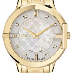 Trussardi White Gold Plated Stainless Steel Heket Women's Wristwatch 32MM