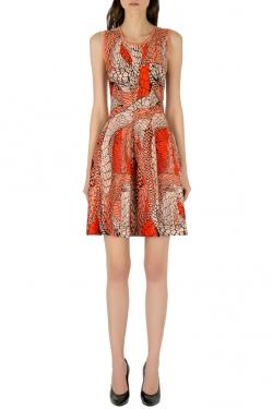 Issa Garnet Orange Patterned Jacquard Sleeveless Skater Dress S
