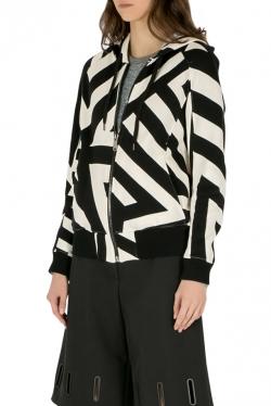 Gareth Pugh Black and White Geometric Print Hooded Sweatshirt M