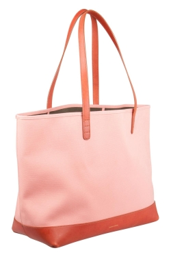 Mansur Gavriel Blush Pink/Brown and Moss Green Canvas and Leather Tote