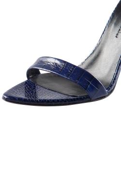 Proenza Schouler Blue Croc Embossed Leather Open Toe Sandals Size 36