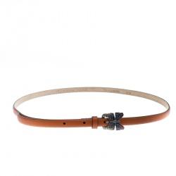 8de2f3059be Valentino Brown Leather Crystal Embellished Butterfly Skinny Buckle Belt  90cm