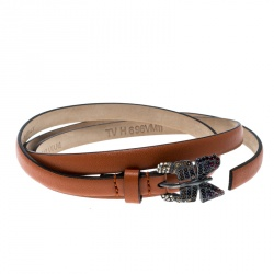 9a99c146ada Valentino Brown Leather Crystal Embellished Butterfly Skinny Buckle Belt  95cm