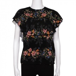RED Valentino Black Silk Floral Print Flounces Top Size M