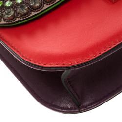 Valentino Multicolor Leather Small Crystal Embellished Glam Lock Shoulder Bag