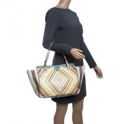 Valentino Multicolor Leather Medium Native Couture 1975 Rockstud Tote