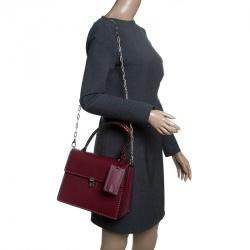 Valentino Burgundy Leather Studded Micro Rockstud Top handle Bag