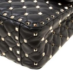Valentino Black Leather Large Rockstud Top Handle Bag